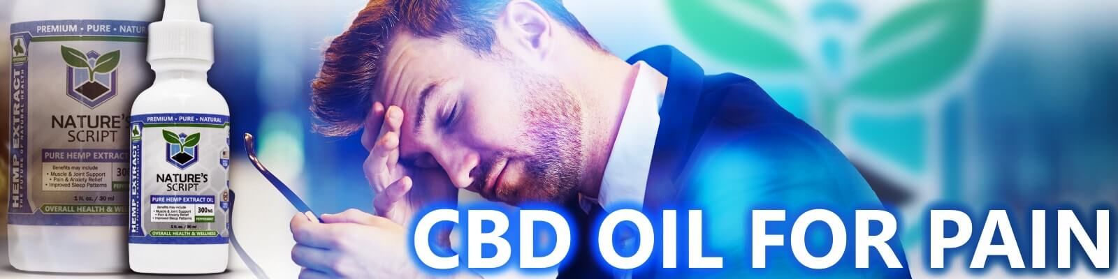 man in suit holding his head cbd oil for pain banner