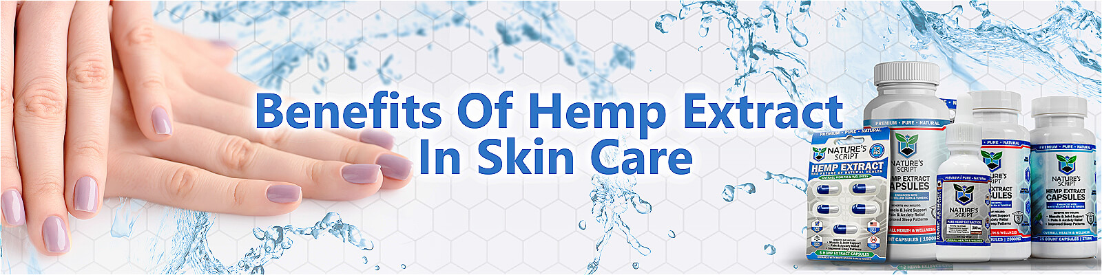 Hemp Extract for skin care woman's hands with natures script products