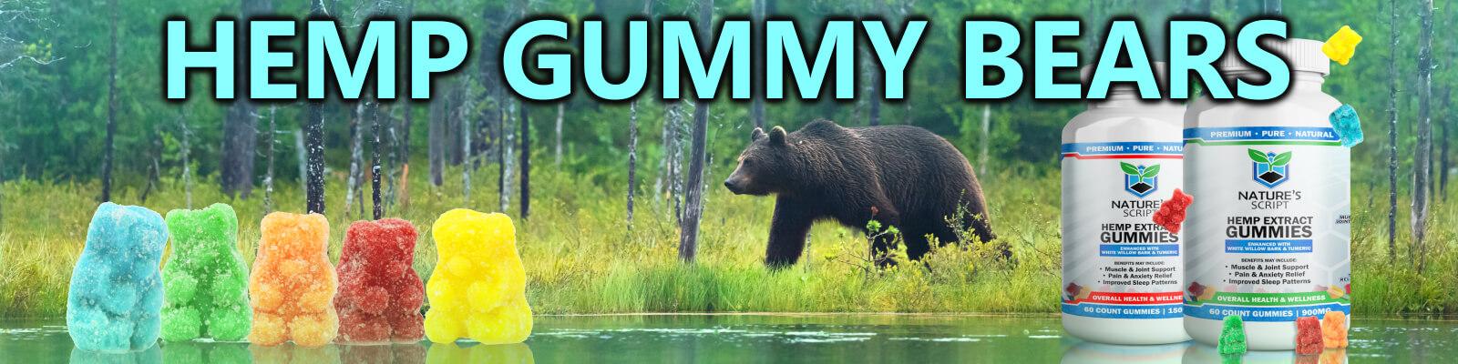black bear walking in forest hemp gummy bears banner