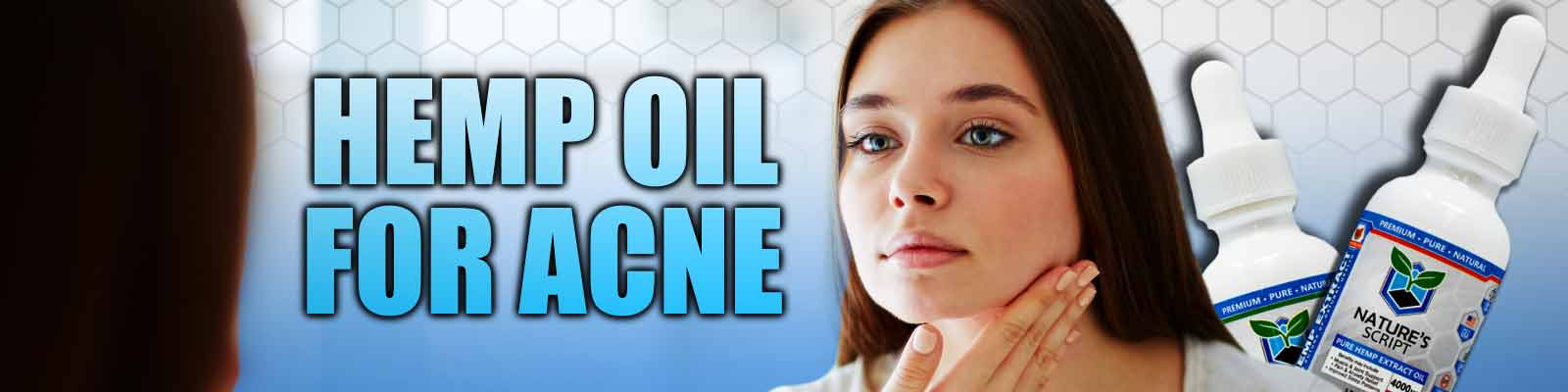 woman looking in mirror hemp oil for acne