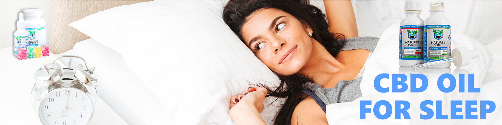 woman in bed cbd oil for sleep banner