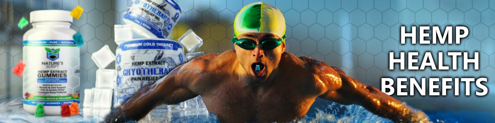 hemp health benefits man swimming